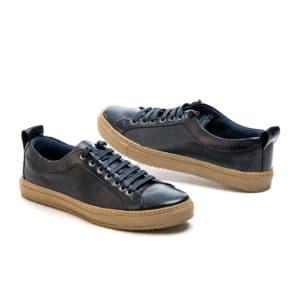 Ανδρικό Mπλε δερμάτινο παπούτσι με μπεζ σόλα Northway