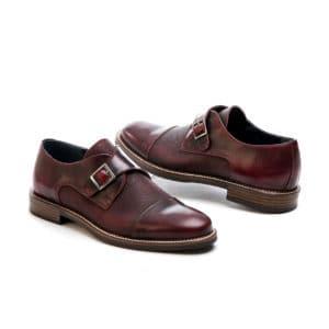 Ανδρικό παπούτσι κουστούμι δερμάτινο κούμπωμα μονκ μπορντώ Raymont