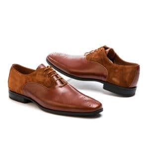 Ανδρικό παπούτσι κουστούμι δερμάτινο καστόρ και δέρμα Northway