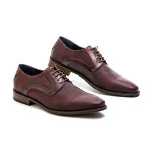 Ανδρικό παπούτσι κουστούμι δερμάτινο μπορντώ Raymont