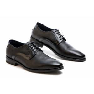 Ανδρικό παπούτσι κουστούμι δερμάτινο μαύρο Raymont