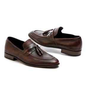 Ανδρικό παπούτσι κουστούμι δερμάτινο καφέ μοκασίνι Raymont