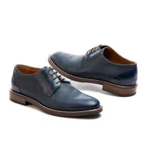 Ανδρικό παπούτσι κουστουμί δερμάτινο μπλε Raymont