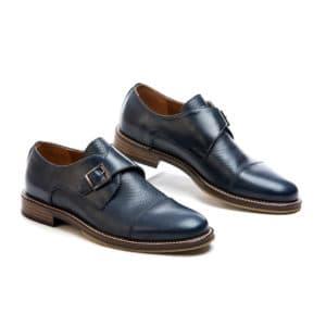 Ανδρικό παπούτσι κουστούμι δερμάτινο μπλε κούμπωμα μονκ διπλό δέρμα Raymont