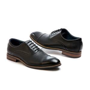 Ανδρικό παπούτσι κουστούμι δερμάτινο μαύρο Beneto Mareti διπλό δέρμα