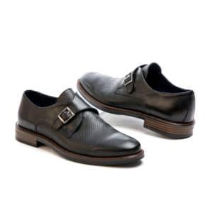 Ανδρικό παπούτσι κουστούμι δερμάτινο κούμπωμα μονκ μαύρο Raymont