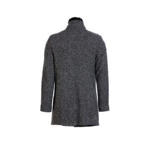 Ανδρικό παλτό Vittorio -Χρώμα μαύρο με σχέδιο μπουκλέ στην ύφανση