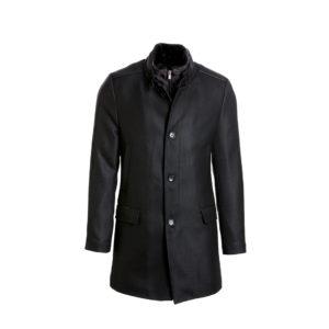 Ανδρικό παλτό Vittorio -Χρώμα μαύρο με λεπτομέρεια στην ύφανση και γιακά μαο