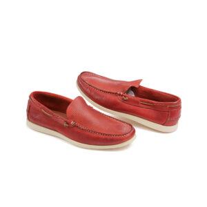 Ανδρικό παπούτσι δερμάτινο κόκκινο